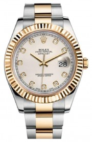 Rolex Datejust II 116333 Stainless Steel & 18K Gold Oyster Band Yellow Gold Fluted Bezel & Ivory Diamond Dial - 41mm