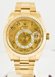 Rolex 42mm Sky Dweller 18K Yellow Gold Watch Model 326938 Oyster Band Champagne Face & Rotatable Bezel