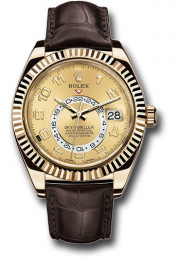 Rolex Sky-Dweller 326138 42mm 18K Yellow Gold Case Bidirectional Rotatable Bezel Champagne Dial Brown Leather Band with 18K Yellow Gold Oysterclasp