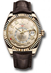 Rolex Sky-Dweller 326138 42mm 18K Yellow Gold Case Bidirectional Rotatable Bezel Silver Sunray Dial Brown Leather Band with 18K Yellow Gold Oyster Clasp