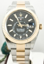 Rolex 42mm Sky Dweller Stainless Steel & 18K Yellow Gold Watch Model 326933 Black Face & Rotatable Bezel - UNUSED
