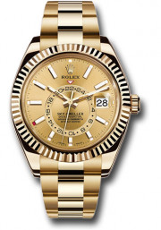 Rolex 42mm Sky Dweller 18K Yellow Gold Watch Model 326938 Oyster Bracelet Champagne Face & Rotatable Bezel - UNUSED