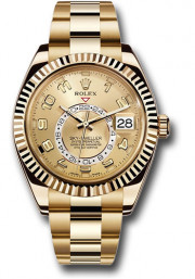Rolex 42mm Sky Dweller 18K Yellow Gold Watch Model 326938 Sunray Face & Rotatable Bezel - UNUSED