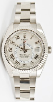 Rolex 42mm Sky Dweller 18K White Gold Watch Model 326939 Oyster Band Silver Roman Face & Rotatable Bezel