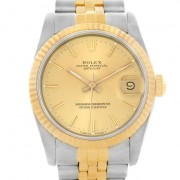 Rolex Datejust 68273 Midsize Steel and 18K Gold Jubilee Band in Perfect Condition Model, Champagne Stick Face