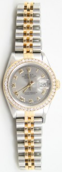 Rolex Datejust Lady's Perfect Condition Model 69173 Steel and Gold Jubilee Band with Custom Added 1ct Channel Set Diamond Bezel and Slate Roman Dial - 90's