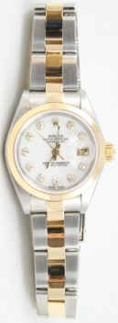 Rolex Datejust Lady's Perfect Condition Model 69173 Steel and Gold Oyster Band with Custom Added Diamond Dial and Bezel - 90's