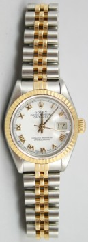 Rolex Datejust 69173 Lady's Perfect Condition Steel and Gold Jubilee Band Model with White Roman Dial - 90's