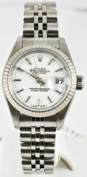 Rolex Lady's Stainless Steel Datejust 69174 Jubilee Band With A White Stick Dial & A Fluted Bezel