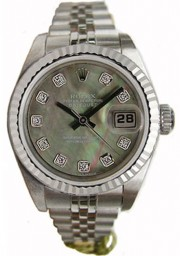 Rolex Datejust Lady's Perfect Condition Model 69174 Stainless Steel Jubilee Band with Custom Added Green MOP Diamond Dial and Fluted Bezel Bezel - 90's