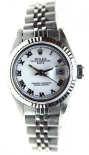 Rolex Datejust Lady's Perfect Condition Stainless Steel Jubilee Band Model 69174 with White Roman Dial - 90's