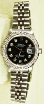 Rolex Lady's Stainless Steel Datejust 69174 Jubilee Band With A Custom Black Diamond Dial & A 1CT Diamond Bezel