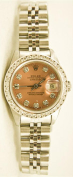 Rolex Lady's Stainless Steel Datejust 69174 Jubilee Band With A Custom Salmon Diamond Dial & A 1CT Diamond Bezel