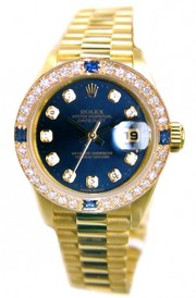 Rolex President Ladies Perfect New Condition Model 69178 In 18K Yellow Gold with Custom Added Sapphire Diamond Bezel and Blue Diamond Dial - 90's