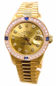 Rolex President Ladies Perfect New Condition Model 69178 In 18K Yellow Gold with Custom Added Champagne Diamond Dial and Custom Sapphire Diamond Bezel - 90's