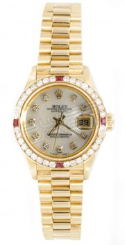 Rolex President Lady's Perfect New Condition Model 69178 In 18K Yellow Gold with Custom Added Ruby Diamond Bezel and MOP Diamond Dial - 90's