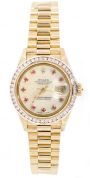 Rolex President Lady's Perfect New Condition Model 69178 In 18K Yellow Gold with Custom Added Bead Diamond Bezel and MOP Ruby Dial - 90's
