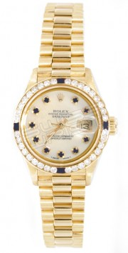 Rolex President Lady's Perfect New Condition Model 69178 In 18K Yellow Gold with Custom Added Sapphire Diamond Bezel and MOP Sapphire Dial - 90's