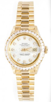 Rolex President Lady's Perfect New Condition Model 69178 In 18K Yellow Gold with Custom Added 1.5ct Channel Diamond Bezel and White Diamond Dial - 90's
