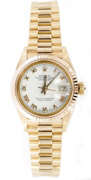 Rolex Presidential 69178 Ladies 18K Yellow Gold White Roman Numeral Face