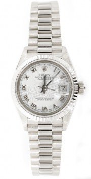 Rolex Lady's Presidential 69179 in 18K White Gold with Custom Added White Roman Numeral Dial and Fluted Bezel - 90's