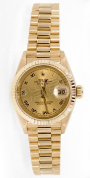Rolex President Lady's Like New Model 6917 Yellow Gold with Champagne Roman Numeral Dial and 18K Yellow Gold Fluted Bezel - 80's
