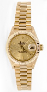 Rolex President Lady's Like New Model 6917 Yellow Gold with Champagne Index Dial and 18K Yellow Gold Fluted Bezel - 80's