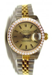 Like New Rolex Datejust Lady's Model Steel and Gold Jubilee Band Model 6917 Custom Added Bead Set Diamond Bezel - Mint & Perfect