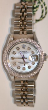Rolex Datejust 6917 Lady's Stainless Steel Jubilee Band, Custom Added Mother of Pearl Diamond Dial and 1ct Bead Set Diamond Bezel