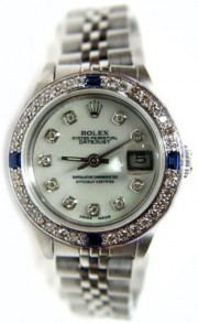 Rolex Datejust Lady's Stainless Steel Jubilee Band Model 6917 with Custom Added MOP Diamond Dial and Sapphire Diamond Bezel