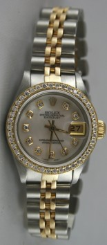 Rolex Datejust 6917 Lady's Steel and Yellow Gold Custom Added Mother of Pearl Diamond Dial and 1ct Bead Set Diamond Bezel