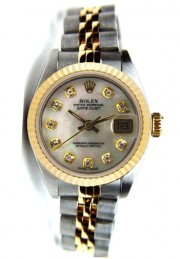 Rolex Datejust Lady's Steel and Gold Jubilee Band with Custom Added MOP Diamond Dial - 80's