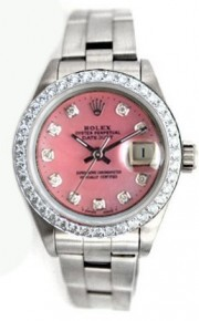 Rolex Datejust Lady's Stainless Steel Oyster Band Model 6917 with Custom Added Pink MOP Diamond Dial and Bead Diamond Bezel - 80's