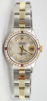 Rolex Datejust Lady's 6917 Steel and Gold Oyster Band with Custom Added Diamond Ruby Bezel and MOP Diamond Dial