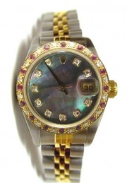 Rolex Datejust Lady's Steel and Gold Jubilee Band with Custom Added Ruby Diamond Bezel and Tahitian MOP Diamond Dial - Amazing