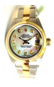 Rolex Datejust Lady's Model 69163 Steel and Gold Oyster Band with Custom Added MOP Diamond Dial