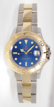 Rolex Yachtmaster Model 69623 Ladies Stainless Steel & 18K Yellow Gold Blue Dial Perfect Condition