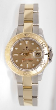 Rolex Yachtmaster Model 69623 Ladies Stainless Steel & 18K Yellow Gold Champagne Dial Perfect Condition