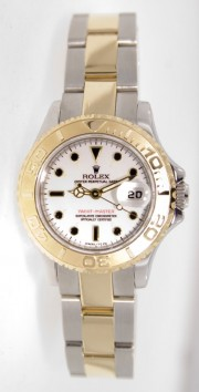 Rolex Yachtmaster Model 69623 Ladies Stainless Steel & 18K Yellow Gold White Dial Perfect Condition