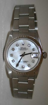 Rolex Datejust 78274 Midsize Stainless Steel Oyster with 18K White Gold Fluted Bezel and Custom Added Mother of Pearl Diamond Dial 2004-2005