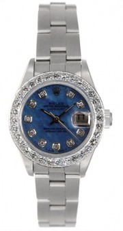 Rolex Datejust 79160 Lady's Stainless Steel Oyster Band with Custom Added 18K White Gold Bead Diamond Bezel and Beautiful Ice Blue Mother of Pearl Diamond Dial - 2000's