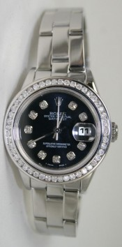 Rolex Datejust Lady's Model 79160 Stainless Steel Oyster Band with Custom added Black Diamond Dial, 1ct Diamond Bezel and High Polish Finish