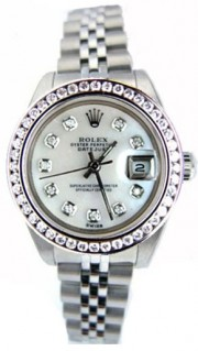As NEW Rolex Datejust Lady's Stainless Steel Jubilee Band Model 79160 with Custom Added MOP Diamond Dial and Bead Set Diamond Bezel