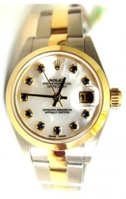 Unused Rolex Datejust Lady's Model 79163 Steel and Gold Oyster Band with Custom Added MOP Sapphire Dial and Bezel - 2005
