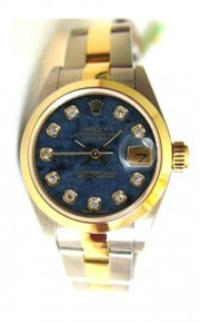 Rolex Datejust Lady's Steel & 18K Yellow Gold Oyster Band Model 79163 with Custom Added Blue Diamond Dial