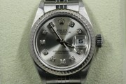 Rolex Lady's Stainless Steel Datejust 79174 Jubilee Band Custom Silver Diamond Dial & A White Gold Fluted Bezel