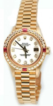 Rolex Lady's President Model 79178, 18K Yellow Gold Classic Band Style with Custom Added Ruby Diamond Bezel and MOP Diamond Dial - 2000's The Works!