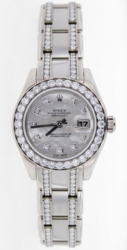 Rolex Pearlmaster 80299 Ladies White Gold with Factory Mother Of Pearl Diamond Dial, 32 Diamond Bezel & Pearlmaster Bracelet Set With 174 Diamonds