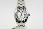 Rolex Lady's Pearlmaster Model 80319 29mm 18k White Gold Watch White Roman Dial & 12 Diamond Bezel