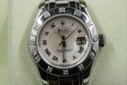 Rolex Lady's Pearlmaster Model 80319 18k White Gold Watch Factory Mother Of Pearl Deco Roman Dial & Factory 12 Diamond Bezel